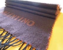 """Valentino Scarf Wool Signature Solid Pattern Brown Vintage Muffler Foulard Shawl Wrap Made In Italy 64"""" X 13.5"""" (15/12)"""