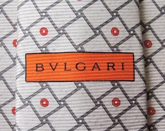 Bvlgari Tie Woven Silk Geometric Shapes Repeat Pattern Ivory Vintage Designer Dress Davide Pizzigoni Necktie Made In Italy