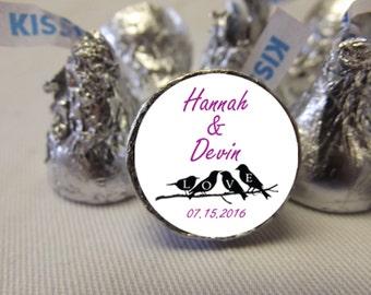 Hershey Kiss Wedding Stickers, Wedding Favor Stickers, Wedding Hershey Kiss Labels, 108 Wedding Candy Stickers
