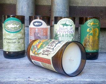 Candle Gift Set For The Man Cave From Upcycled Dogfish Head Craft Beer Bottles