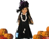Halloween Witch's Gown Costume, Hat, Belt, Lace Leggings and Boots for 18 Inch Dolls such as American Girl, Our Generation, Madam Alexander