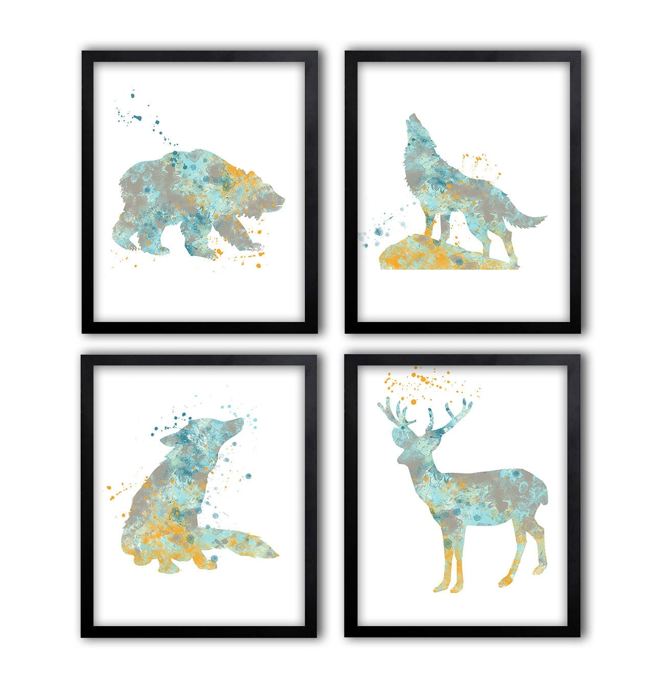 Woodland wall art home decor grizzly bear art wolf art for Bear decorations for home