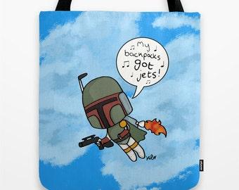 Star Wars, Boba Fett, MC Chris,parody  illustrated bag by Kayliegh Kartoons, geek gift, gift for her, Star Wars fan, Jedi, gift, tote bag,