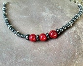 Speckled Red Jasper and Hematite Bracelet with Metal Spacers and Lobster Claw Clasp SPB005
