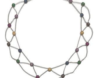 18k White Gold Multi Gemstone Sapphire Tsavorite Ruby Diamond Bib Necklace 20.3 gm Appraised 7900