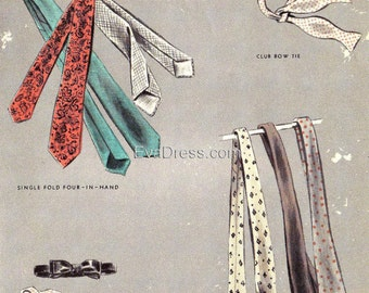 1953 Set of  Four Neck Ties EvaDress Pattern