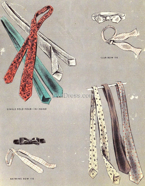 Rockabilly Men's Clothing 1953 Set of  Four Neck Ties EvaDress Pattern $10.00 AT vintagedancer.com