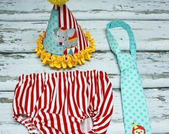 Circus Cake Smash Outfit,Boys Cake Smash Outfit,Circus Elephant Cake Smash,Applique Embroidered Birthday Hat Tie Diaper Cover