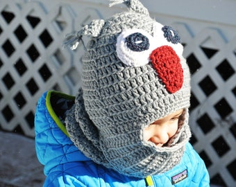 Kids-adults owl hat with scarf!