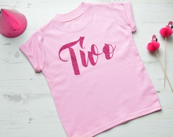 Pink Glitter Second Birthday Outfit Girl | 2nd Birthday Shirt | Toddler Girls Clothes | Pink SS Two