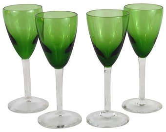 Green Cordial Glasses, Set of Four