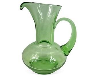 Hand-blown Green Glass Pitcher