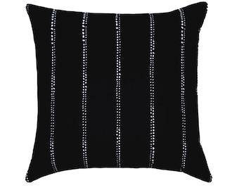 Black & White Striped Pillows, 20 x 20 Black Pillow Covers, Black White Throw Pillows, Black Dotted Striped Pillow with Zipper Closure