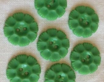 Green buttons, green plastic buttons, green button set, button set, vintage buttons, retro buttons, Housedress buttons, craft buttons