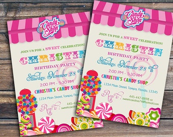 Candy Shop Invite - Sweet Shoppe Invitation - Candy Land - Sweet Shoppe Birthday Party, Sweet Shoppe Invite, Candy Invitation