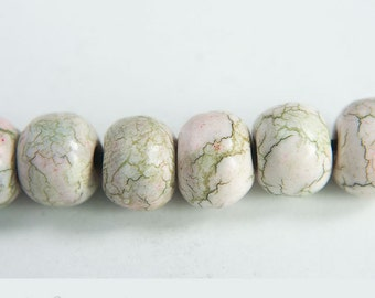 Faux stone beads, 6 Marbled beads, Rustic clay beads, White green pink Artisan beads, Bracelet beads, Faux ceramic beads, Boho bead set