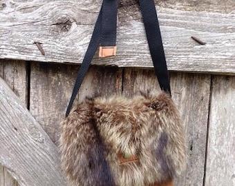 Fur and leather handbag * Fur and leather handbag