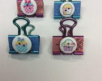 Cupcake Button Binder Clips