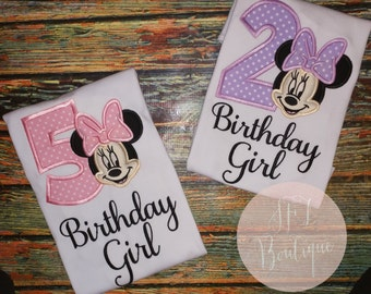 Custom Embroidered Miss Minnie Mouse Birthday Girl Shirt
