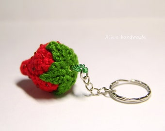 Crochet Strawberry Keychain. Handmade Keychain. Ready to ship.
