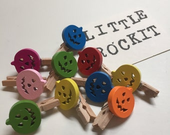 Pack of 10 Coloured Pumpkin Mini Pegs