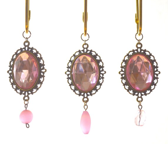 Shower Curtain Hooks Vintage Jewels Pink Faceted Gems In