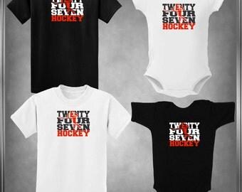 Hockey Spiritwear T-Shirt-24/7 Hockey-Twenty Four Seven 6 mos to Youth XL Custom Color Choices