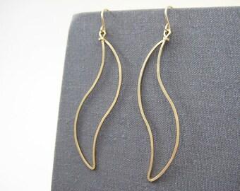 Wave Earrings - thin gold filled dangle hoop earrings, office wear geometric jewelry