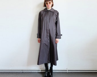 90s maxicoat trenchcoat jacket black puristic minimal S M frosted