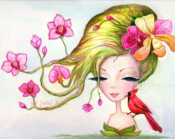 Digital Stamps, Digi stamp, Paper crafting, Spring Flowers, Orchids, Fantasy Girl, Bird. The  Spring Flowers Collection. The Spring Orchid