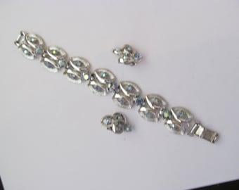 Vintage Coro Aurora Borealis Bracelet and Earring Set