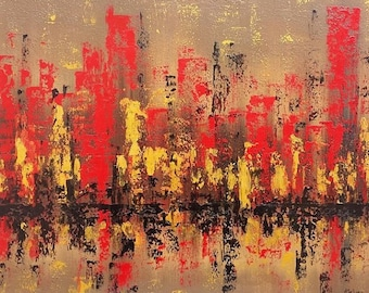 Abstract modern art Abstract cityscape painting Skyline painting City skyline art City art Original oil painting by Alina Jelvez 20x24""