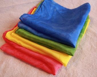 "Playsilks - Set of 4 (11""x11""), Mini Play Silks, Waldorf Playsilks, Rainbow Playsilks"