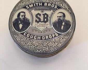 Vintage Smith Bros Cough Drops Can~~Advertising Tin Can~~Retro