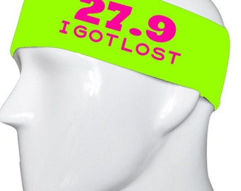 27.9 I Got Lost Marathon Lime Green with Hot PinkLettering Headband