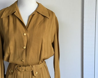 1940s Long Sleeve Mustard Dress
