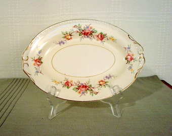 Homer Laughlin Small Oval Plate > Pink Roses