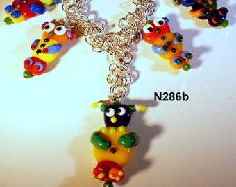 Handcrafted Lampwork Glass Kachiri Dolls on Chain Maille Chain N286