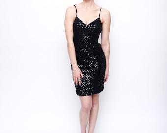 Vintage Black Sequins Lace Glam Mini Dress S