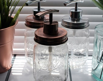 Clear Ball Mason Jar Soap | Lotion Dispenser with Retro Style lid and pump available in 3 Copper | Chrome combinations  -  *UK SELLER*