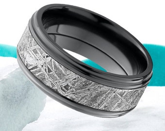 Meteorite Wedding Band Black Zirconium Ring His Hers Meteorite Wedding Ring Black Zirconium Meteorite Ring Anniversary Promise Comfort Fit