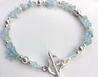 Aquamarine bracelet, Sterling Silver Aquamarine gemstone bracelet, dainty blue gemstone bracelet March Birthstone gift, Aquamarine jewelry