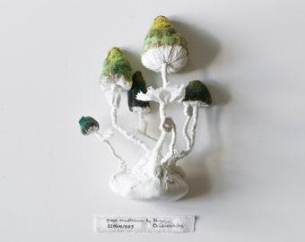 green mushroom, fiberart, soft sculpture,