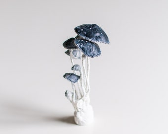 white-black mushrooms, fiberart, soft sculpture,