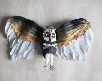 Stoff-Skulptur Eule, fabric sculpture ,gift , weich skulpture, fiber art