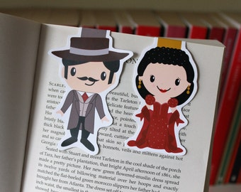 Set of Gone with the Wind Magnetic Bookmarks #2 | Scarlett O'Hara (In Red Dress) and Rhett Butler