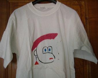 oversizeT-shirt, tunic, night shirt, pure cotton, Vintage, hand painted