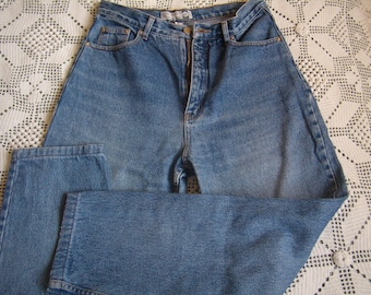 70's Vintage woman jean denim, faded, size 42, waist high, Vintage 1970