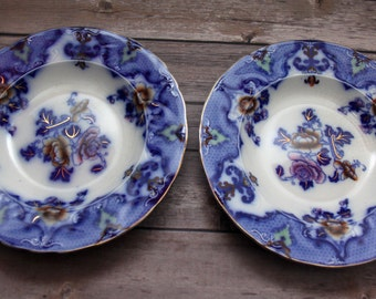 "Antique FLOW BLUE RIDGWAYS 9"" Plates for Soup/Salad ~ circa 1900s ~ Rare Moyune Pattern ~ Staffordshire England ~ Official Royal Potter!"