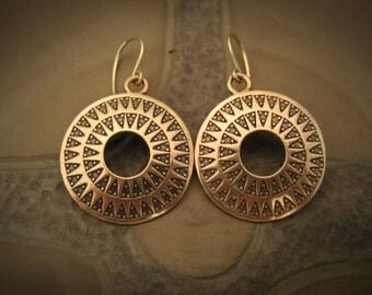 Bronze Sun symbol earrings